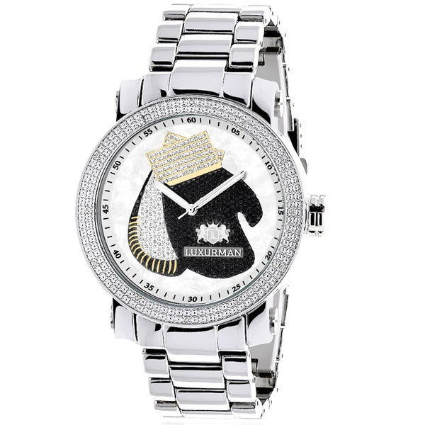 Luxurman Men's Boxing Gloves Southpaw Limited Edition Diamond Watch 18779439