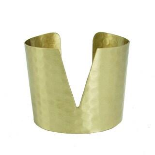 Handmade Goldtone Triangular Cuff Bracelet (India)