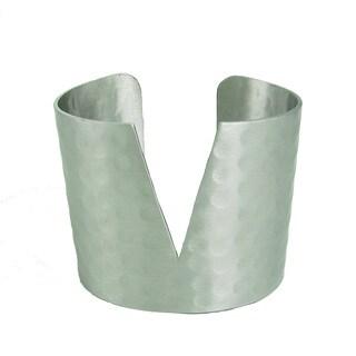Handmade Silvertone Triangular Cuff Bracelet (India)
