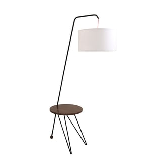 Stork Mid-Century Modern Floor Lamp with Walnut Wood Accent Table