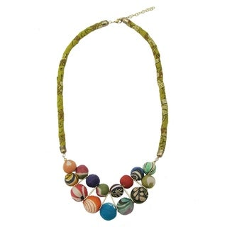 Handmade Kantha Beaded Bib Necklace (India)