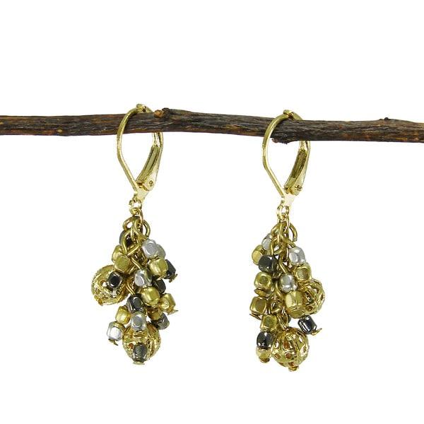 Handmade Metallic Mix Cluster Earrings (India)