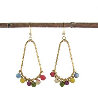 Handmade Kantha Beaded Fan Oval Hoop Earrings (India)
