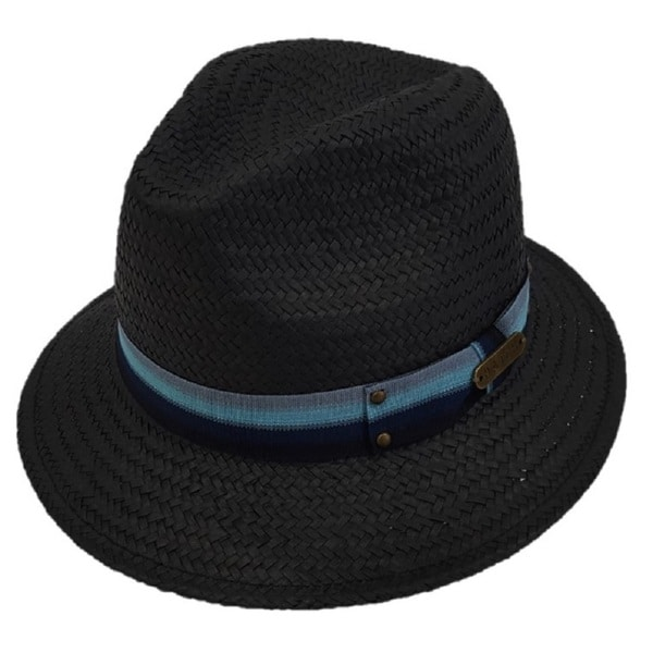Hatch Hats Black Straw Blue Band Casual Fedora