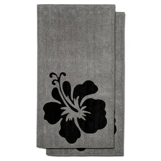 Cambridge Towel Hibiscus-print Cotton Beach Towel (Set of 2)