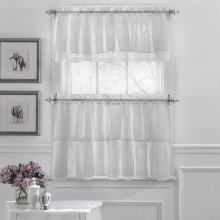 Elegant Crushed Voile Ruffle Blue/White/Pink/Purple/Beige Polyester Window Curtain Pieces With Optional Valance and Tiers