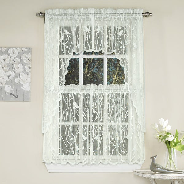 Ivory Knit Lace Bird Motif Window Treatments