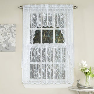 White Polyester Knit Lace Bird Motif Window Curtain Tiers, Valance and Swag Pair Options