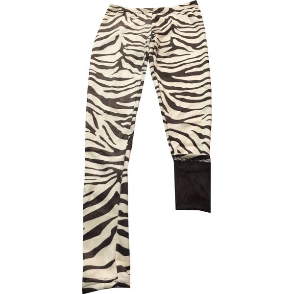 Girl's Brown Polyester and Spandex Animal Print Fur-lined Lounge Pants