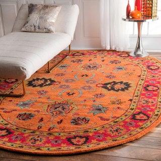 nuLOOM Handmade Overdyed Traditional Orange Wool Rug (8' x 10' Oval)