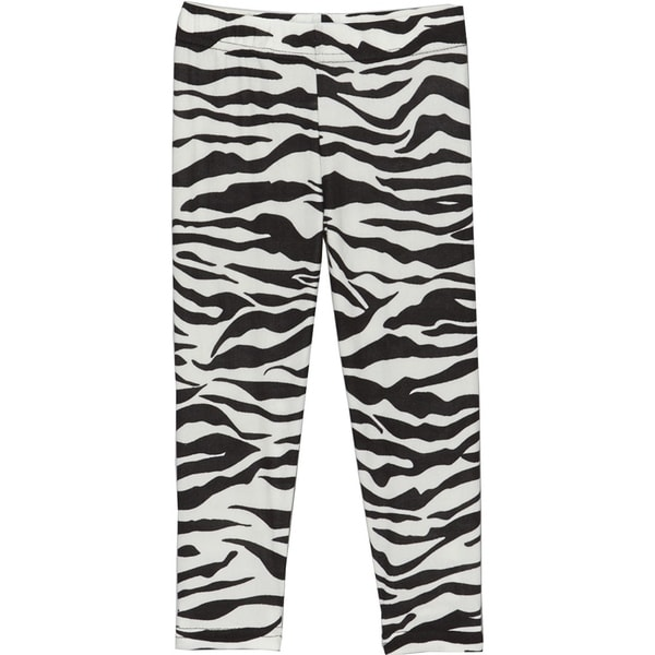 Girls Black and White Polyester and Spandex Print Leggings