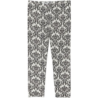 Riviera Girls' Black/White Polyester/Spandex Printed Leggings
