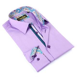 Banana Lemon Men's Purple Cotton Patterned Button-down Shirt