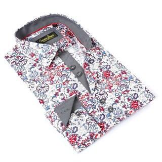 Banana Lemon Men's Red/Blue Cotton Floral Button-down Shirt