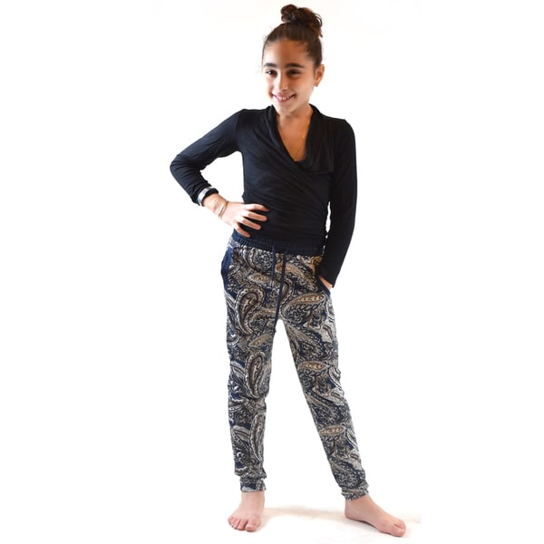 Dinamit Girls' Gold/Black Polyester/Spandex Print Knitted Jogger Pants