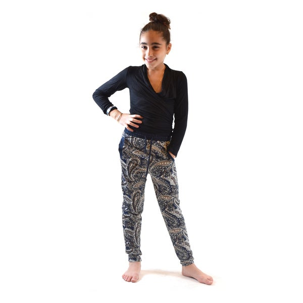 Girls' Golden Black Multi Paisley Polyester Spandex Printed Knitted No-pocket Jogger Pants