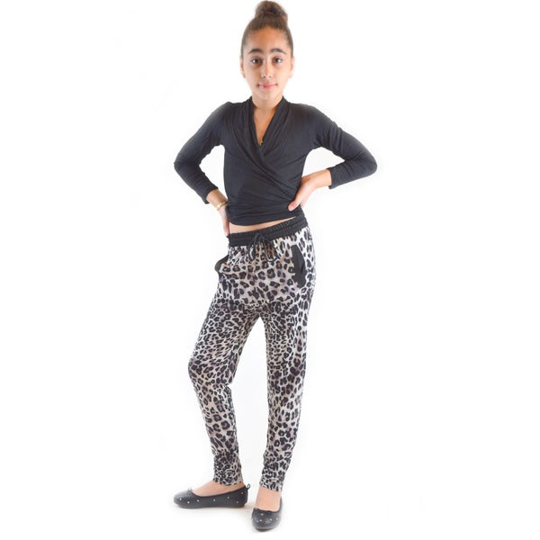 Golden Black Kids' Fierce Leopard-print Polyester, Spandex Knitted Jogger Pants
