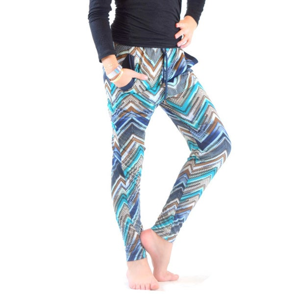 Golden Black Kids' Zig Zag Multicolored Polyester Spandex Printed Knitted Jogger Pants 18781303