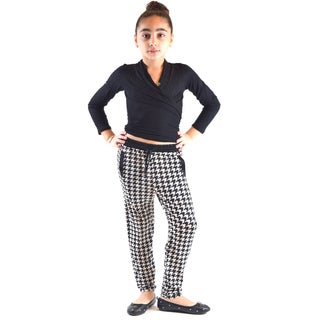 Golden Black Girl's Multicolor Polyester and Spandex Symmetry Printed Knitted Joggers Pants