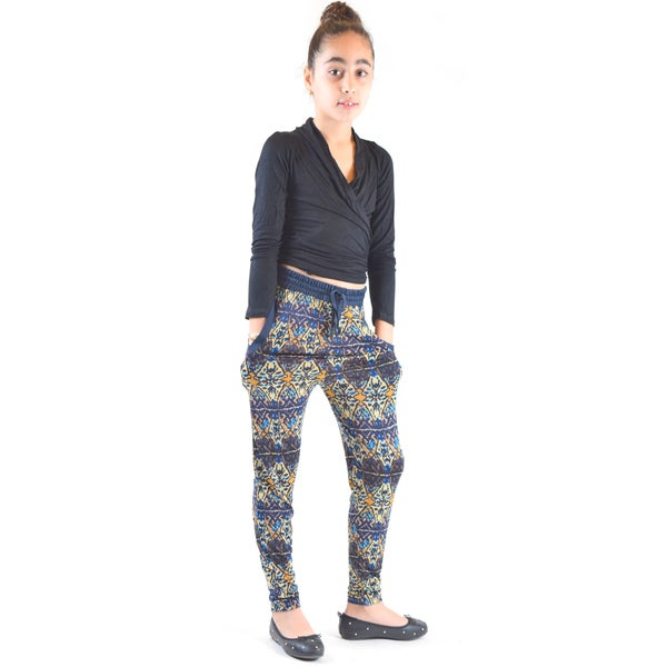 Dinamit Girls' Multi-color Polyester/Spandex Symmetry-printed Knitted Joggers Pants