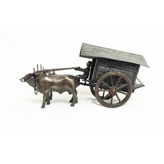 Metal Cows with Cart Decor