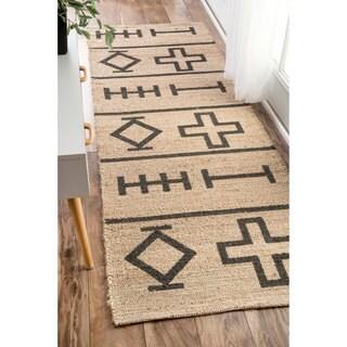 nuLOOM Handmade Native Drawings Jute Natural Runner Rug (2'6 x 8')