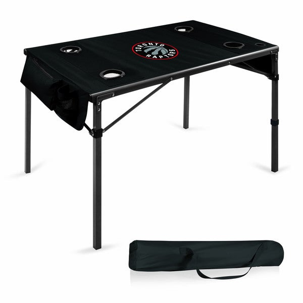 Picnic Time Toronto Raptors Black Metal/Polyester 42.5-inch x 27.5-inch x 27.5-inch Folding Travel Table