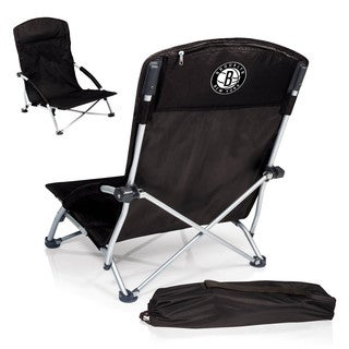 Picnic Time Brooklyn Nets Black Polyester and Metal Tranquility Portable Beach Chair
