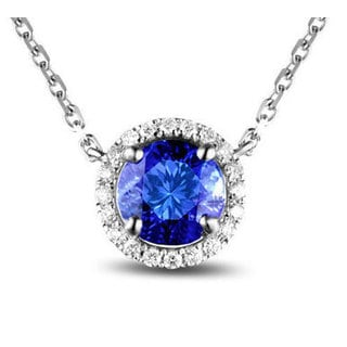18k White Gold Tanzanite and Diamond Accent Necklace