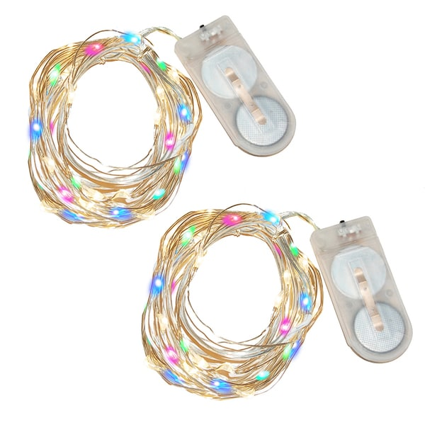 Battery-operated Multi-colored Plastic Waterproof LED Mini String Lights (Set of 2)