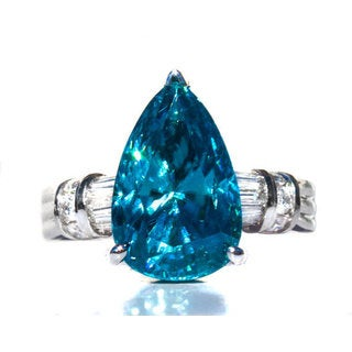 14k White Gold Cambodian Blue Zircon and Diamond Accent Ring