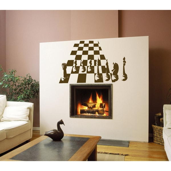 Chess sport players Wall Art Sticker Decal Brown