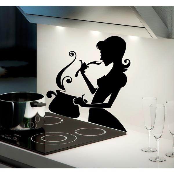 The girl is preparing to eat Wall Art Sticker Decal