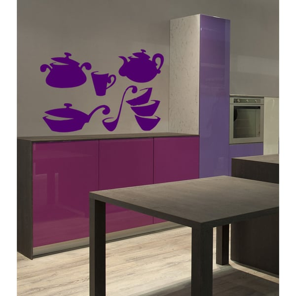 Pots and pans Wall Art Sticker Decal Purple
