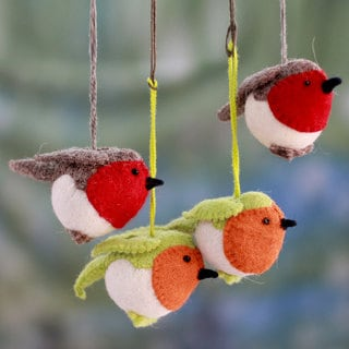 Set of 4 Handcrafted Wool 'Christmas Song' Ornaments (India)