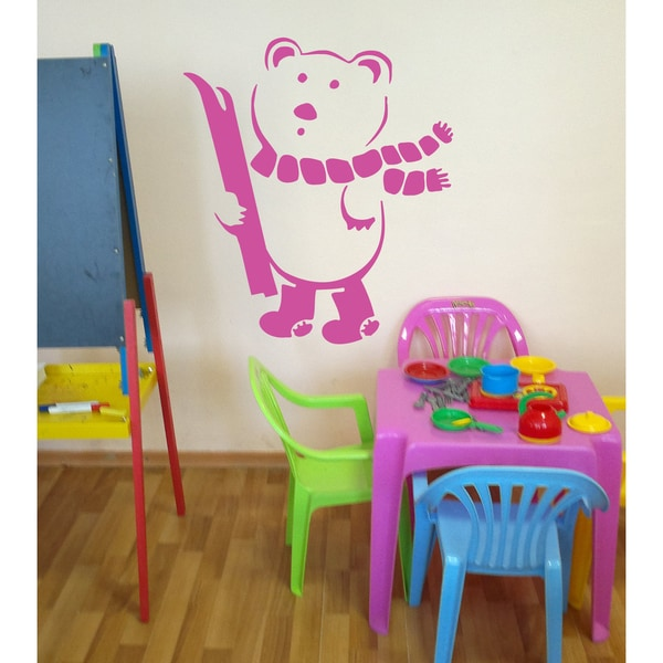 Teddy bear with skis Wall Art Sticker Decal Pink
