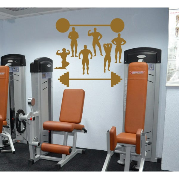 Sport Barbell gym athlete Wall Art Sticker Decal Brown