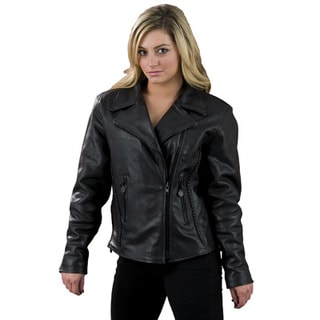 Women's Black Leather Jacket with Braid and Stud Details