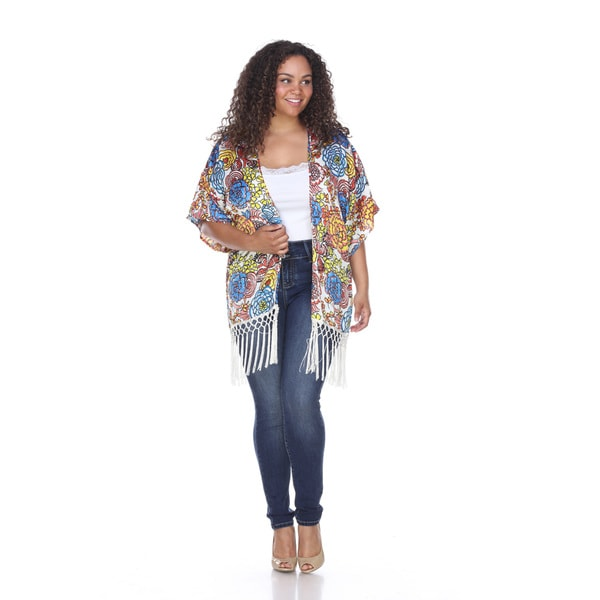 White Mark Women's Floral Polyester Fringed Kimono Cardigan