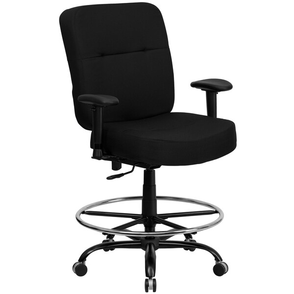 Tuva Big and Tall Black Fabric Drafting Office Chair