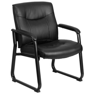 Teom Big and Tall Black Leather Executive Side Chair With Sled Base