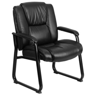 Aubry Big and Tall Black Leather Executive Office Side Chair With Sled Base