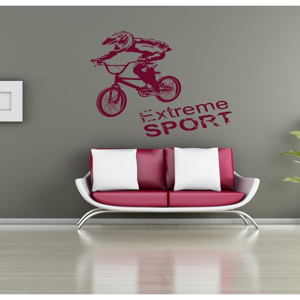 Race Extreme sports bike Wall Art Sticker Decal Red
