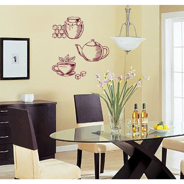 Honey Tea and Coffee Maker Wall Art Sticker Decal Red