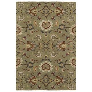 Hand-Tufted Perry Kashan Sage Wool Rug (9'0 x 12'0)