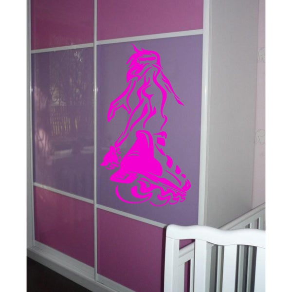 Girl on rollers Wall Art Sticker Decal Pink