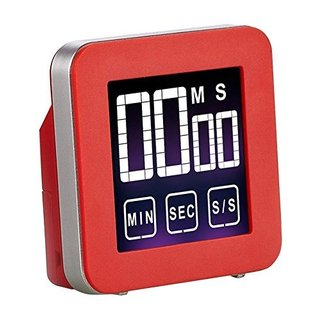 Cook N Home Red Aluminum Touch Screen Digital Kitchen Timer