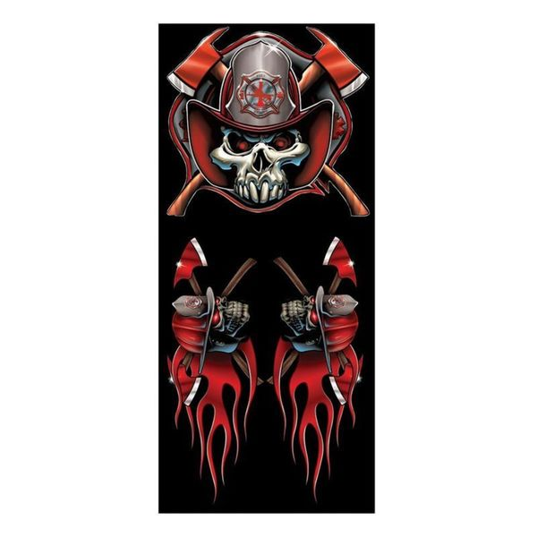 Pilot Automotive 6-inch x 8-inch Fireman Skull Vehicle Car Decal Stickers