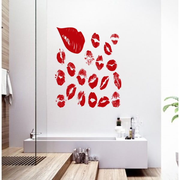 Beautiful lips collage Wall Art Sticker Decal Red 18788180