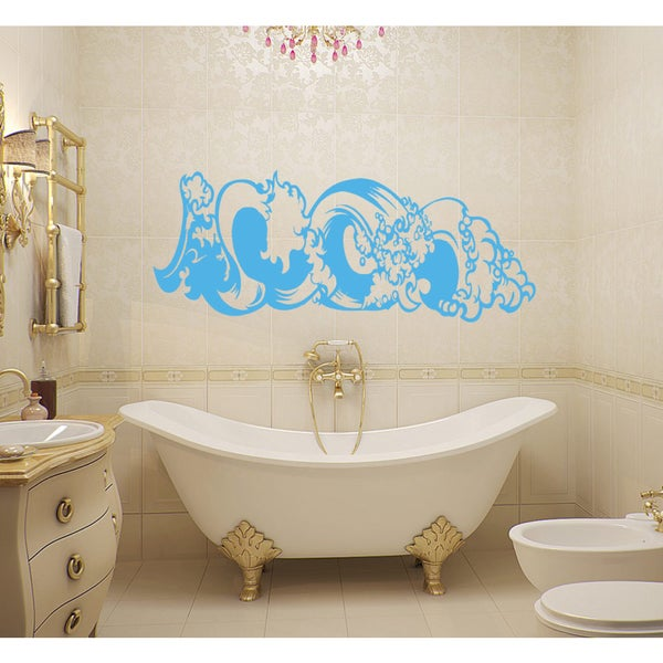 Beautiful wave Wall Art Sticker Decal Blue